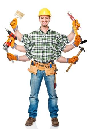 fontanero: trabajador manual con seis brazos en el fondo blanco