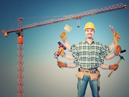 six arms handyman and crane background photo