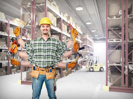 concet of worker in classic warehouse photo