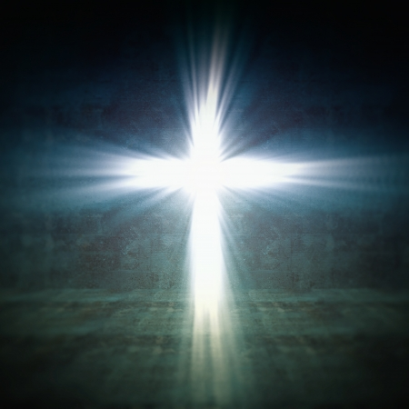 3d image of cross of light Stock Photo