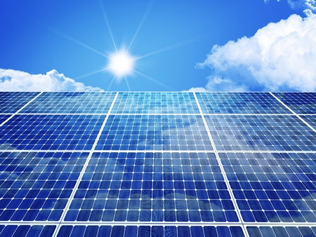 3d image of classic solar panel Stock Photo