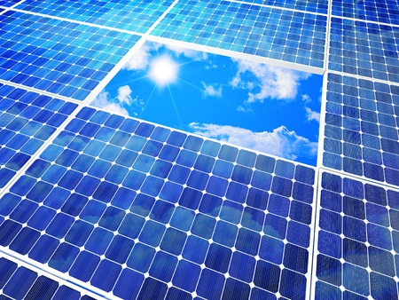 photovoltaic power station: solar panel and blue sunny sky Stock Photo