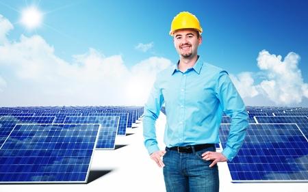 ingeniero electrico: ingeniero de confianza y de fondo del panel solar