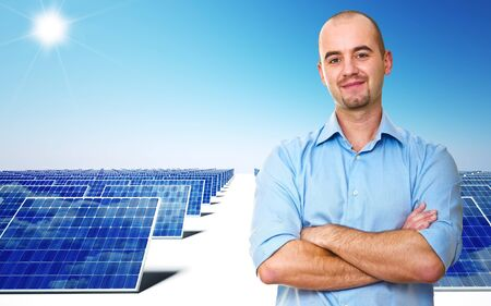 confident man and power solar station Stock Photo - 11500446