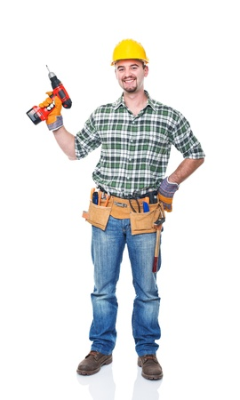 tradesman: smiling worker with red drill on white background