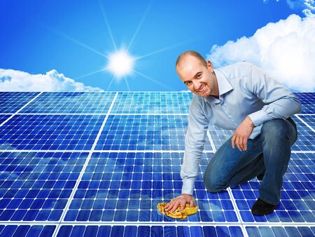 3d image of classic solar panel and smiling cleaner photo