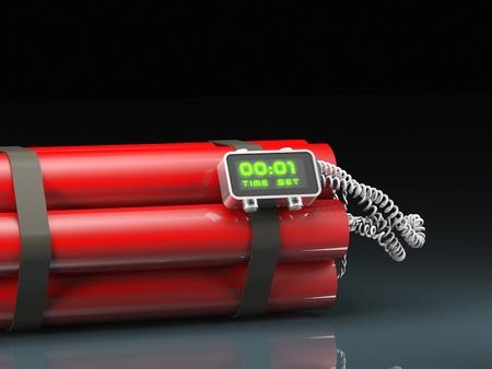 dinamita: Imagen 3D de la bomba de tiempo clásico tnt