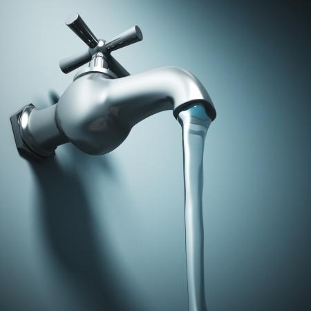 ahorrar agua: Imagen en 3D de grifo de metal y agua corriente
