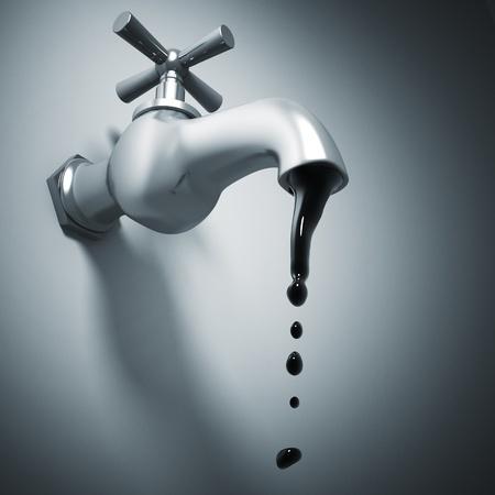 oil drop: 3d metal tap and oil drop