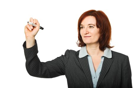 caucasian woman in writing action pose photo