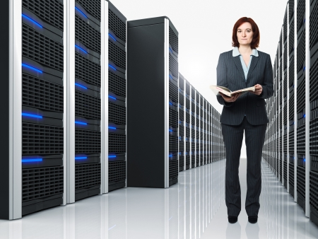 3d image of datacenter with lots of server and female worker photo
