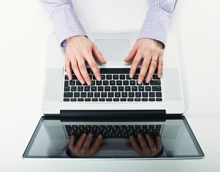netbook: detail of woman working with laptop