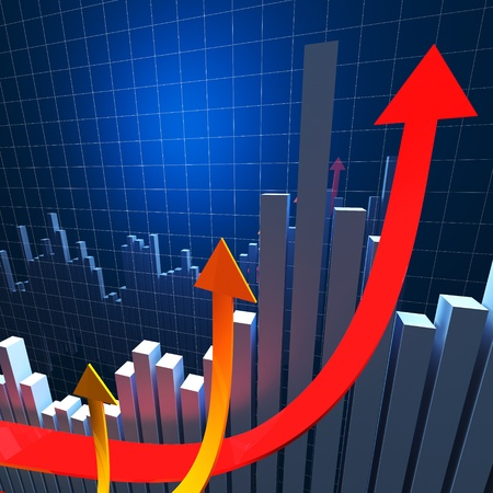 3d image of growing arrows and financial graph photo