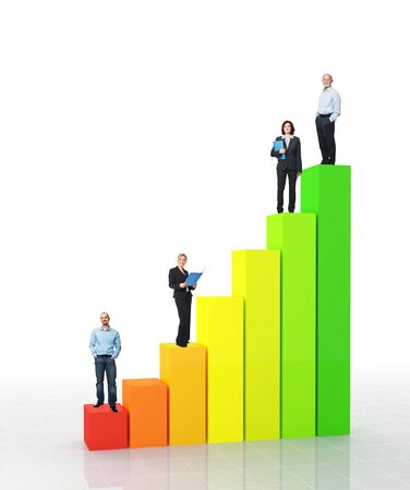 fine 3d image of financial graph and standing worker Stock Photo - 11914379