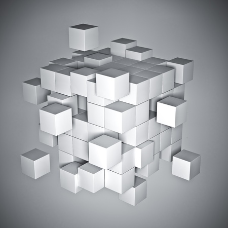 cube puzzle: 3d rendering of white cube