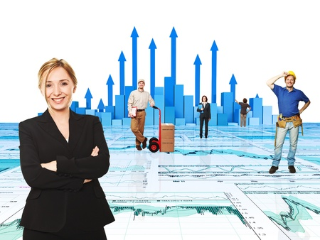 smiling worker and 3d chart background photo