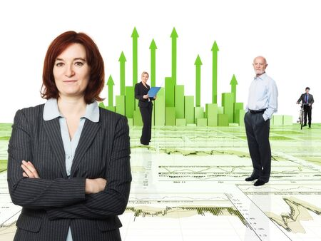 3d image of financial chart and worker Stock Photo - 11915741