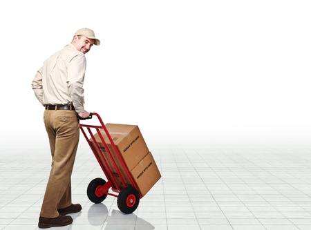 handtruck: smiling delivery man with handtruck