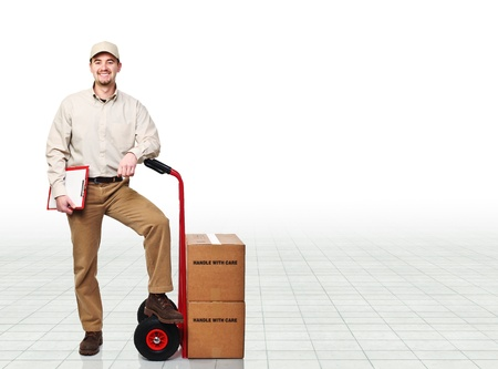 handtruck: manual worker with handtruck and boxes