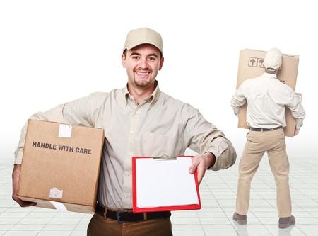 young caucasian man at work photo