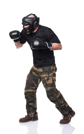 krav maga: krav maga athete isolated on white