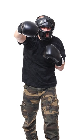 krav maga athete isolated on white photo
