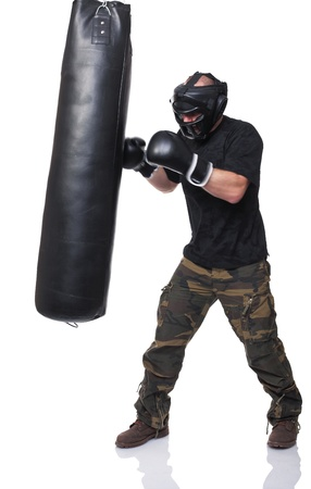 krav maga athete isolated on white Stock Photo - 12021881