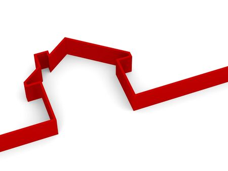 business metaphore: 3d red house on white background Stock Photo