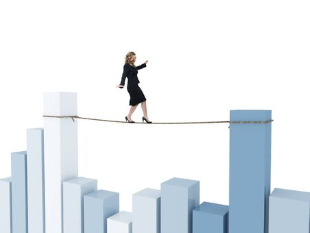 business metaphore: young woman on 3d rope and financial stat Stock Photo