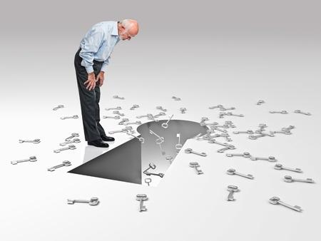 key hole: old man look in huge key hole