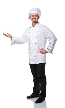 smiling caucasian chef on white background photo