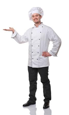 šéfkuchař: Portrét Kavkazská kuchař na bílém Reklamní fotografie