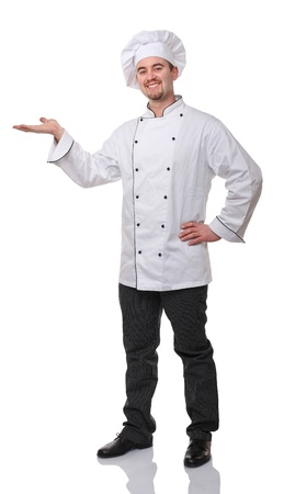 cooking chef: portrait of caucasian chef on white Stock Photo
