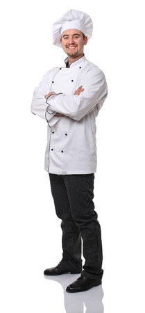 confident caucasian chef on white background photo