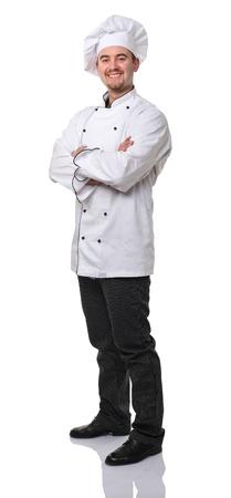 confident caucasian chef on white background photo
