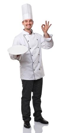 portrait of caucasian chef on white photo