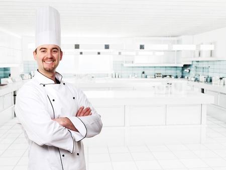 friendly chef in modern kitchen