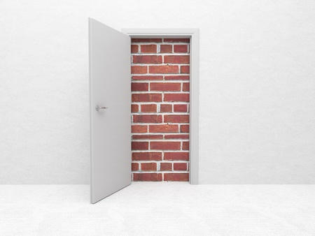 way to freedom: white open door and brick wall 3d