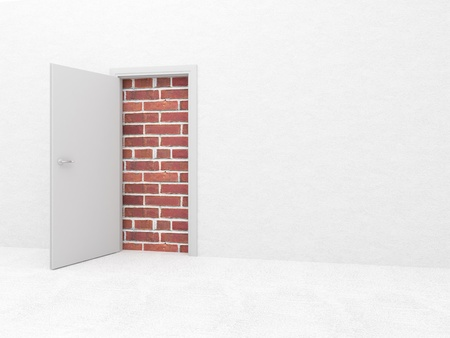 white open door and brick wall 3d photo