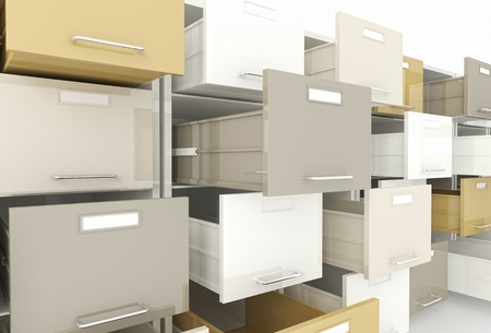 3d image of open drawer of file cabinet photo