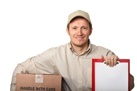 show bill: smiling delivery man show the bill