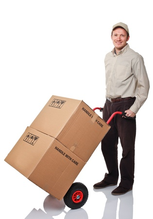 handtruck: portrait of worker with handtruck on white background Stock Photo