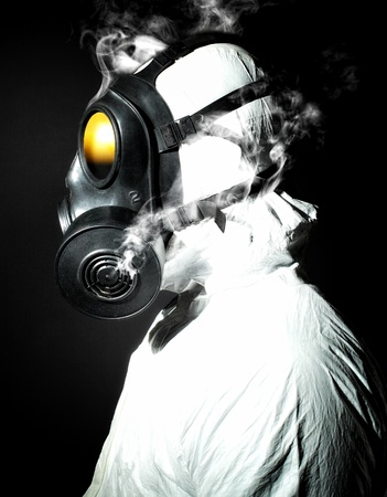 respirator: portrait of man with gas mask