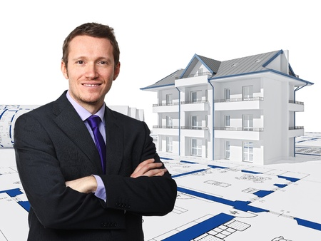 portrait of businessman and 3d house background photo