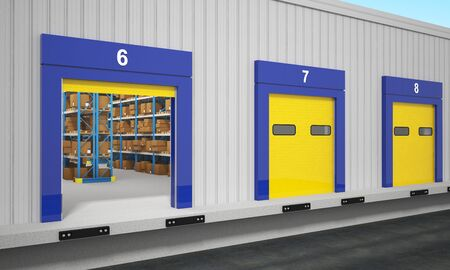 fine 3d image of warehouse exterior photo
