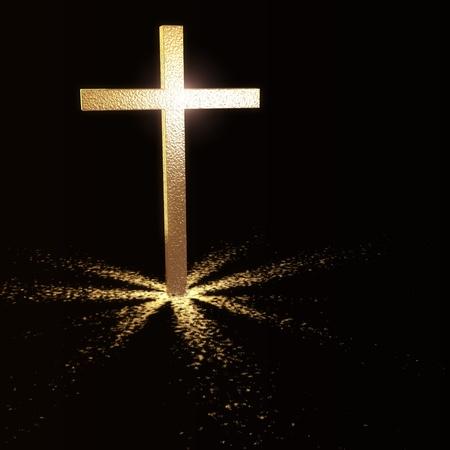 simbolos religiosos: Cruz cristiana de oro sobre fondo oscuro
