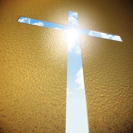 simbolos religiosos: placa de metal con el cielo azul y la cruz