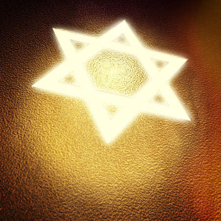 light  star of david on golden cover photo