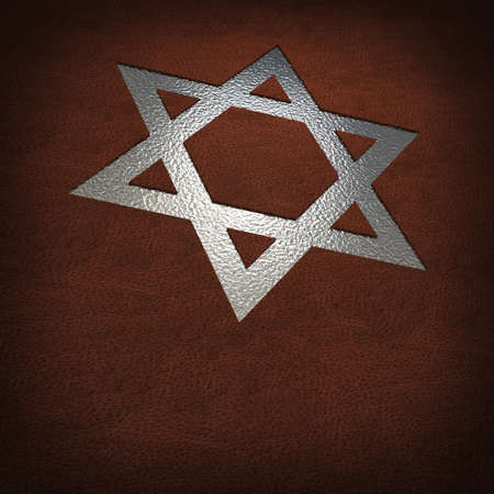 jewish star: silver star of david on leather cover Stock Photo