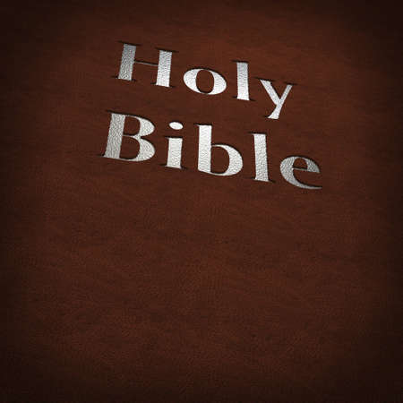 silver bible text on leather cover photo